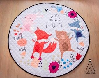 Woodland creatures, pack and play, toy organizer, Lego organizer, storage, Cotton, Anti-slip, Kids Room Décor, Play Mat