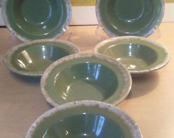 "6 Hull Green Avocado Crestone 6"" bowls"