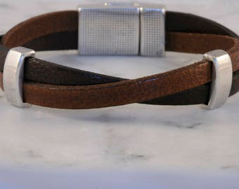 Leather and Silver Bracelet, Jewelry, Leather Jewelry, Leather Bracelet, Zamak, Magnetic Clasp, Sterling Silver