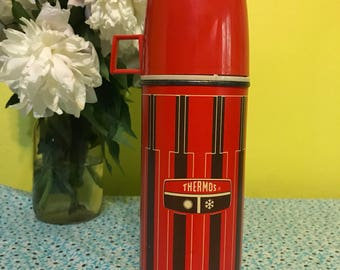 Vintage 1971  Red and Brown King-Seely Thermos