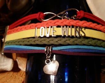 Love Wins Rainbow  Pride Bracelet