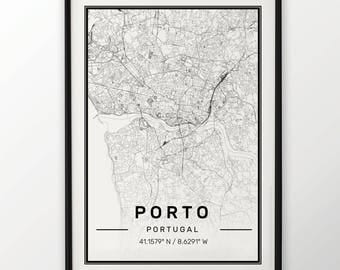 Porto City Map Print Modern Contemporary poster in sizes 50x70 fit for Ikea frame 19.5 x 27.5 All city available London, New York Paris