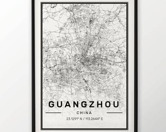 Guangzhou City Map Print Modern Contemporary poster in sizes 50x70 fit for Ikea frame 19.5 x 27.5 All city available London, New York Paris
