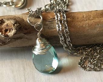 Aquamarine Faceted Hydroquartz Pendant on antique silver chain| March Birthstone