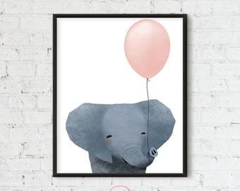 Baby Elephant with balloon, Printable for kids, Kid Art Printable, Nursery Printable, Pink Balloon, , Animal Illustration, Digital File