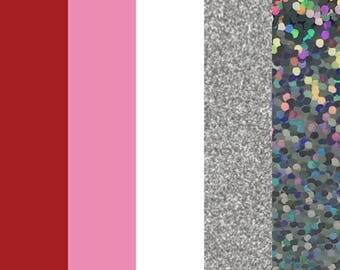 "Valentine HTV Color Bundle (5) 12"" X 9"" Sheets Heat Transfer Vinyl, HTV Sheets, 12"" X 9"", Easy Weed, HTV, T Shirt Vinyl, Heat Press Vinyl"