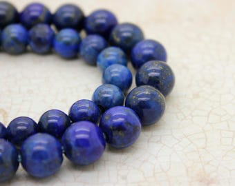 "Dye Lapis Smooth Round Gemstone 8mm 10mm Beads (8"" strand - 2.5 mm hole)"