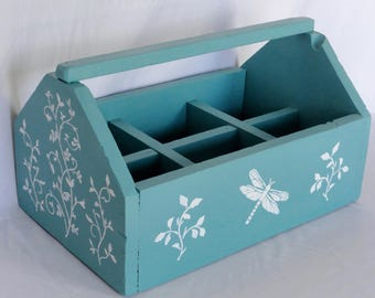 Vintage Hand Painted Teal Dragonfly Garden Caddy