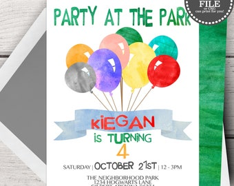 Park Birthday Invitation,  Park Birthday Party Invites, Park Party Birthday Invitation, Birthday Invitation Party Birthday Invite Park Party