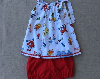 Dr. Seuss Girls Two piece outfit, Dr. Seuss Top with Diaper cover