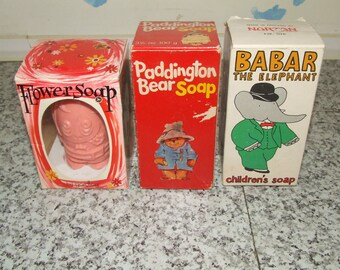 Vintage Soaps x3 Flower, Paddington Bear, Babar The Elephant All Boxed & Unused