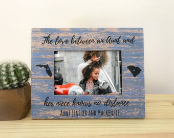 Long Distance Gift for Aunt Niece Frame Aunt Frame Love Knows no Distance Quote Long Distance States Frame
