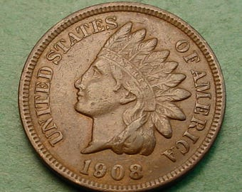 Indian Head Cent 1908 Extra Fine<> FREE SH to United States<> # ET3449