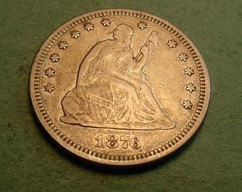 1876  Seated Liberty Quarter Extra Fine BIG Die Crack Rev.  / Insurance included in SH  <>ET5383