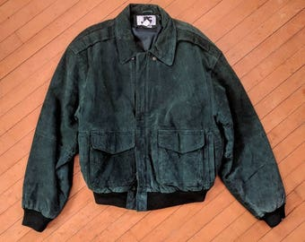 SUPER UNIQUE Vintage Green Suede Bomber Jacket || Green Leather Jacket, Small