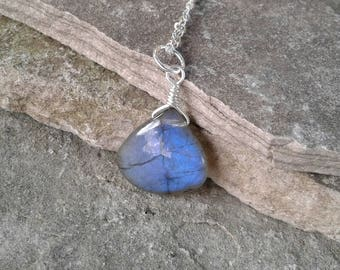 Labradorite Necklace, Solid Sterling Silver Labradorite Pendant Necklace, Labradorite Jewelry