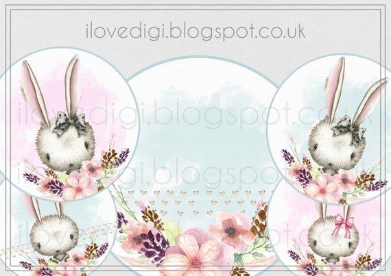 Sweet little rabit - set of 5 - digital collage sheet - scrapbooking, cardmaking, invitation, etc.