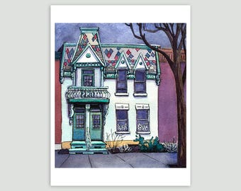 Montreal house on a rainy day – Fine Art Print of Original Watercolour Painting