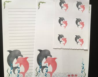 Dolphin set of 25 sheets letter writing paper & 6 envelope seals