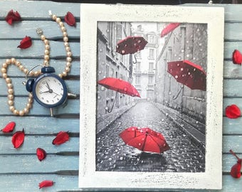 Paris artwork picture red umbrella picture art office gift water drop effect no glass painting 3D rain drops mother gift wallparis wall art