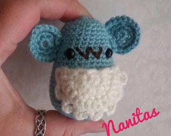 Raton Perez guardadientes amigurumi crochet with teeth and coin pocket. Soft wool. Kawai. READY TO SHIP. Safety eye.