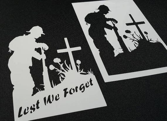 Lest We Forget Phrase Soldiers Troop Airbrush Stencil War