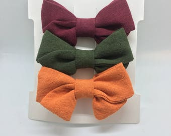 Fall Hand Tied Sailor Bow (Set of 3)