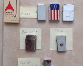 Vintage Lighters / Lot of Lighters / Zippo / Bowers Lighter / Park Lighter / Scripto Lighter / Lot of 6 Lighters