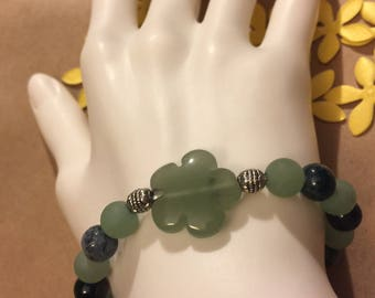 Moss agate, matte aventurine and Tibetan silver bracelet