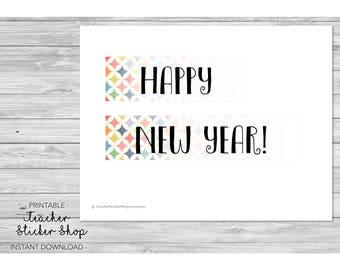 "Teacher Planner Labels - ""Happy New Year"" Full Day Sticker with CUT FILE! - for Erin Condren, Happy Planner, Teacher Binder, etc."