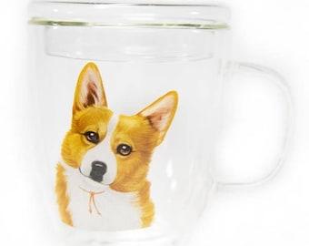 Double glass corgi mug 500ml