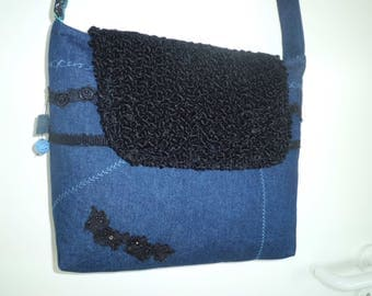 "Shoulder bag ~ Jeans meets fur-""sale"""