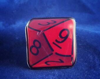 RPG Dice Pin, Gamer Pin, Gaming Art 10 sided die role playing gamer Magnet or Pin