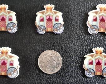 Set of 5 princess carriage flatbacks