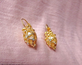 "Joan Rivers ""Present"" Collection Faberge Egg Earrings Aurora Borealis Swarovski Crystals with Mother of Pearl Inlay"