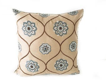 Grey Flower throw pillow with Insert