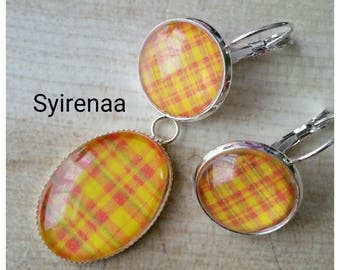 Set earrings and pendant yellow madras