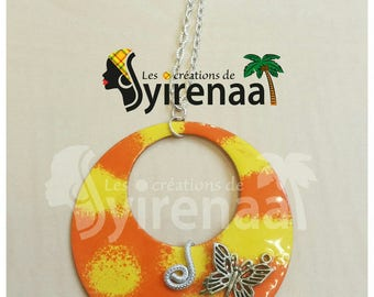 Necklace orange and yellow enamel