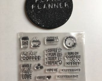 Coffee Stamps, Clear Coffee Stamps, Coffee Themed Stamps, Set Of Clear Coffee Stamps, Coffee Planner Stamps, Planner Stamps