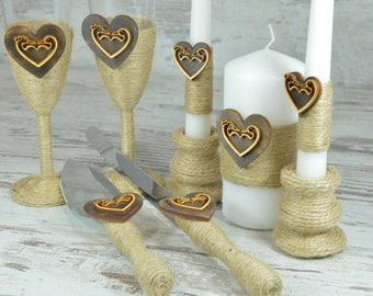Rustic Wedding Set Toasting Glasses Cake Serving Set, Champagne flutes, Cake server and Wedding cake knife