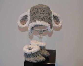 Sheep lamb and Slipper crochet Beanie