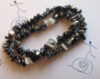Bracelet black and White from Hematite & Mother of Pearl