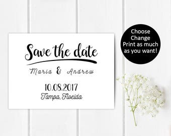 Boho Save the date pdf card, Vintage save the date pdf, Diy save the date pdf, Pdf save the date card, Save the date pdf