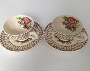 "Vintage ""Myott Son & Co"" 2 cups and 2 saucers Made in England"
