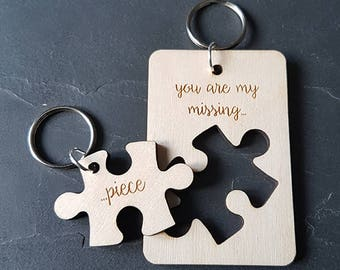 Puzzle piece keyring, his & hers keyring, couples keyring, wooden keyring, couples gift, anniversary gift, engraved gift, valentines gift