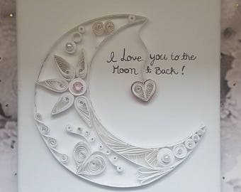 """8 X 10"""" Paper quilled moon on canvas, quilled moon art, moon canvas decor, quilled decor, nursery paper art, nursery decor, white moon, love"""