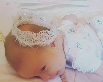 Baby Crown, Lace Crown, Infant Lace Crown, Newborn Crown, Baby photo prop, Photo Prop Crown, photo fun, Cake topper, princess crown