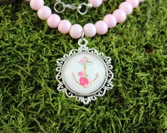 Vintage inspired Pearl Necklace glass pink with cabochon pendant anchor