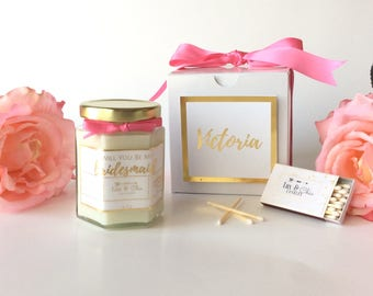 Will You Be My Bridesmaid Gift 6oz-Will You Be My Maid Of Honor Gift-Foil Print-Gold Foil-Rose Gold Foil- Bridesmaid Candle