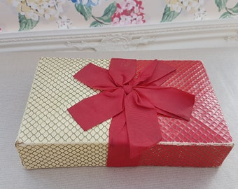 Vintage unbranded chocolate box, red, gold & cream